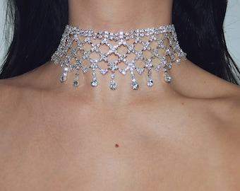 Pendant Crystal Choker Necklace | Silver Finish | Formal Diamante Rhinestone