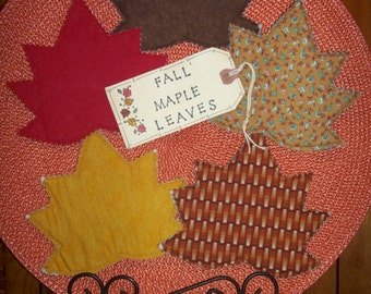 Primitive Country FALL MAPLE LEAVES Fabric Coasters Mug Mats Ornies