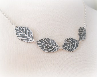 Sterling Silver Leaf Necklace - Silver Leaf Necklace - Simple Minimal Leaf Jewelry - Leaves Sterling Silver Necklace - Leaf Charm Necklace