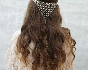Bohemian Bridal Accessory - Boho Wedding Headpiece- Hair Swag Hair Accessory -Beaded Headpiece - Hair Drape