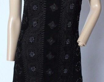 Vintage Sue Wong Knit Studio Black Boho Festival Crochet Suede Leather Beaded Dress S