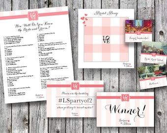 Pink Philadelphia Love Themed Bridal Shower Materials: Bridal Bingo, Food Labels and More!