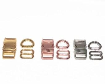 Gold, Silver, or Rose Gold Dog Collar Hardware Sets - 1 inch & 5/8 inch - 25mm 16mm - side release buckle adjuster D-ring