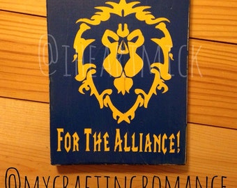 World of Warcraft - Alliance Symbol - 5.5 x 7 inch Wood Sign - Blue and Yellow