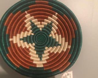 Hunter Green, white and Brown Handmade Peace Basket