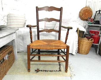French ladder back arm chair, farmhouse chair with straw seat, low seat, French vintage, French country decor, farmhouse decor.