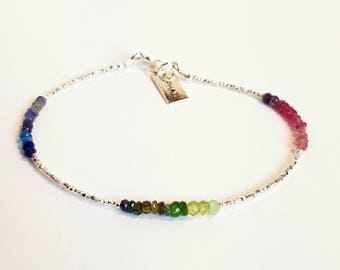 Bracelet Sapphire and TOURMALINE - and 925 Silver beads