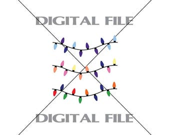 Three Christmas Light Vector Images Clipart Vinyl Decal T-shirt Digital Cutting Files ,Svg File, Ai, Eps, PNG