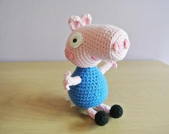 Crochet George Pig Amigurumi - Handmade Crochet Amigurumi Toy Doll - George Pig Crochet - Amigurumi George Pig