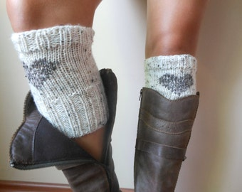 Hand Knitted Boot Cuffs Leg Warmers With Heart Cream and Beige Tweed