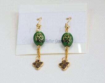 Green Shamrock Earrings