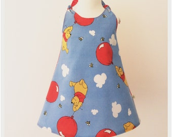 "Girl baby toddler dress Vintage ""I love Winnie the Pooh Bear"" A line tie dress"