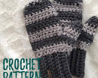 Chunky Mittens Crochet pattern // Gloves // PDF Pattern//