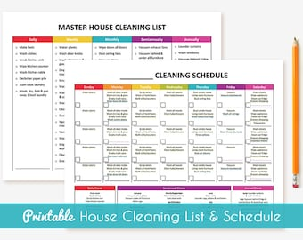 Printable Cleaning Schedule & Master House Cleaning List Package