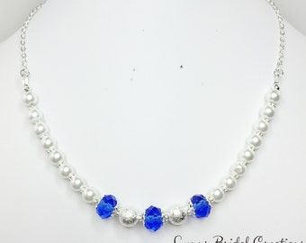 Blue Crystal and Pearl Necklace Royal Blue Bridal Jewelry Blue Wedding Gift Mother of the Bride Blue Silver Beaded Necklace Bridesmaid Gift