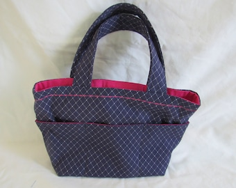 Navy and Pink Purse with External Pockets