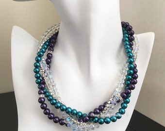 Bridesmaid Gift Dark Purple Necklace Teal Wedding Bridesmaid Necklace Multistrand Pearl Necklace Maid of Honor Gift Idea Wedding Jewelry
