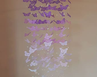 Purple Ombre Butterfly Mobile with Glass Crystal Beads  - baby mobile - baby room - baby shower - baby decor - butterfly chandelier