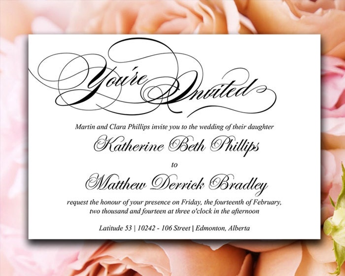 Calligraphy wedding invitation template black white zoom solutioingenieria Gallery
