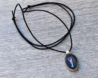 Mens Spoon Necklace Leather Antique Bronze Watch Parts Adjustable Necklace Pendant
