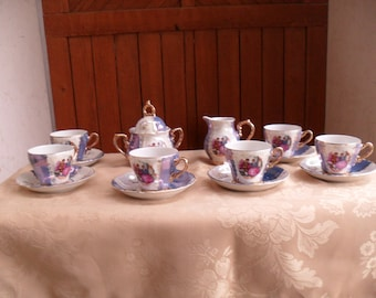 Courting Couple Tea Set, Love Story Tea Set, Tea Set with Gold Accent