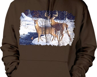 Two Whitetails, 2 White-Tailed Deer in the Snow Hooded Sweatshirt, NOFO_00821
