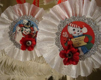 Snowman ornaments retro Christmas gift tags Red White silver glittered vintage Christmas paper ornaments decor glitter ornaments