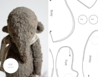 PDF Sewing Pattern & Tutorial Stuffed Elephant  6 Inches Stuffed Animal Pattern Artist Teddy Bear Pattern For Women Plush Pattern Soft Toys