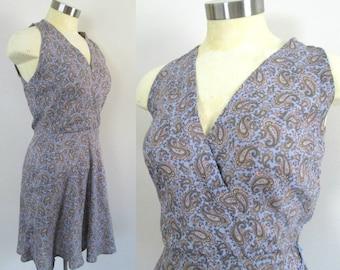 Ralph Lauren Paisley Mini Dress Vintage 1980s Blue Label