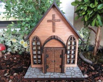 Fairy Garden Church Chapel miniature woodland fairy house cottage door
