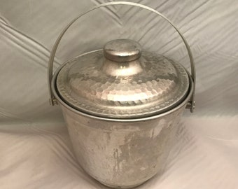 "Hammered Aluminum Ice Bucket with Handle - Made in Italy - 7"" Tall x 7.25"" Across - Vintage"