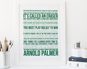 Arnold Palmer Quotes - Golf Print - Sports Typography - Golf Gift - The Masters Print