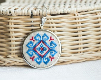 Cross stitch necklace with blue and red ethnic embroidery n007