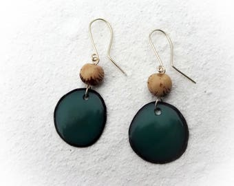 Tagua Earrings, Teal Earrings, Acai Seed Earrings, Eco-Friendly, Dangle Earrings
