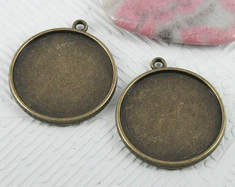 12pcs 31x27mm antiqued bronze color round cabochon settings EF0715
