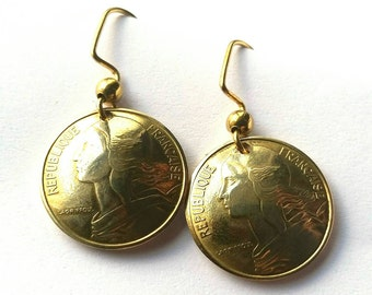 Unique Vintage French Earrings, Authentic France Coin Earrings, Gift for Mom, Gift for Her, Gift for Wife
