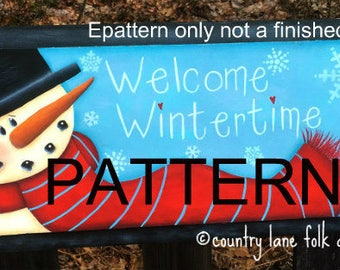 EPATTERN 0061 Welcome wintertime, painting pattern, tole painting pattern, decorative painting, snowman pattern, christmas pattern, diy