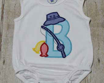 Personalized Fishing Bubble with Applique Letter - Summer Outfit - Fisherman Bubble - Fishing Outfit - Camping Outfit - Boys Fishing Bubble