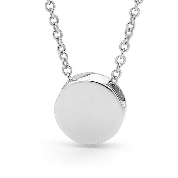 Silver disc necklace small sterling silver disc pendant or like this item mozeypictures Image collections