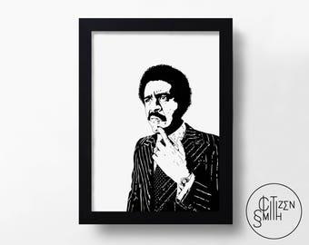 RICHARD PRYOR - Black & White - Hand-Drawn King Of Comedy Art Print