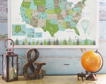National Parks map for kids, 20X30 Inches, Wall Map for kids, Great Outdoors, Poster, Nursery Map, Home School Map
