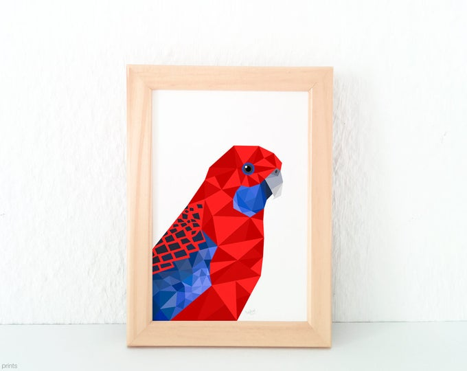 Rosella illustration, Crimson Rosella print, Australian bird art, Australian home decor, Australian Wildlife, Red blue parrot art, Geometric
