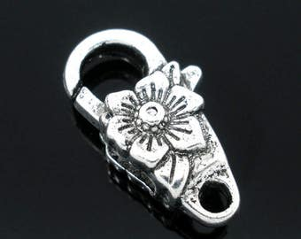 5 Flower Lobster Clasps Antique Silver Lobster Claw 24mm x 13mm F278