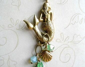 Long mermaid necklace, nautical jewelry, brass chain, sea shell charm, mermaid pendant