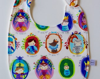 Reversible super baby bib, royal family, gender neutral