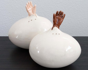 Hands Emerging from Egg Salt and Pepper Shakers - Reach Out and Touch Someone