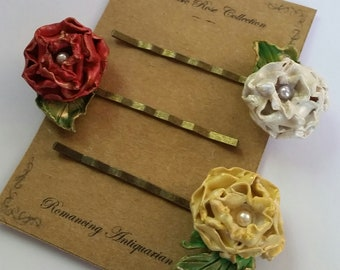 Red/White/Yellow Rose Flower Bobby Pin Variety Set, Handcrafted Floral Hairpins