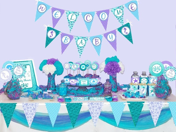 Exceptional Mermaid Baby Shower Decorations Printable Under The Sea Baby