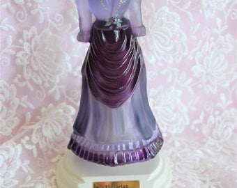 Vintage FENTON VICTORIAN Dress Glass FIGURINE Purple Lavender Bust Corset Southern Belle Gown Artist Signed Number Wood Stand Hat Box Style