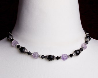Amethyst Flower necklace | Gemstone necklace | Black bead floral necklace | Amethyst necklace | Amethyst jewellery | 18 inch necklace
